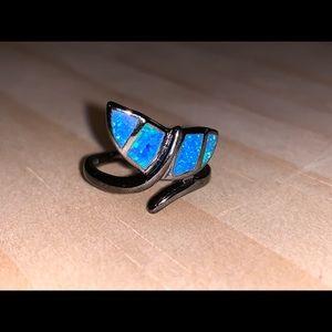 Black metal whale ring